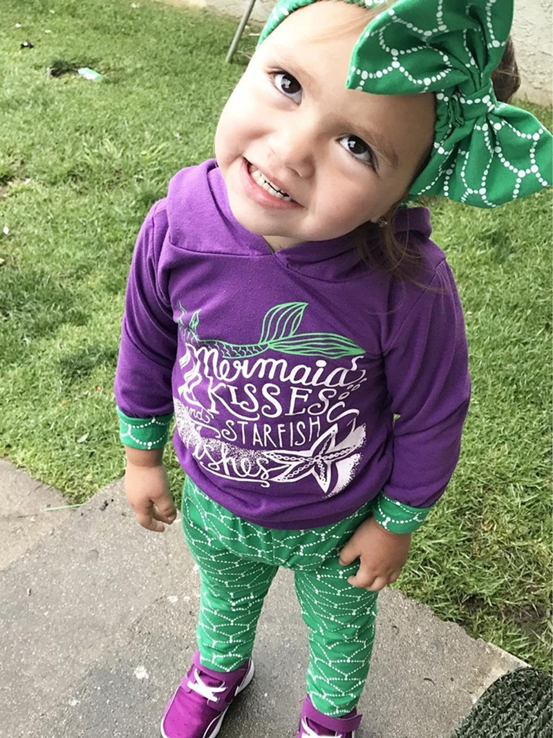 Ericdress Hoodie Long Sleeve And Pant With Headband Mermaid Baby Girls Outfit Set