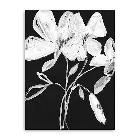 White Whimsical Flowers I Giclee Canvas Art, One Size , White