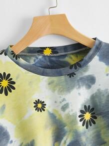 Floral Print Tie Dye Crop Sweatshirt