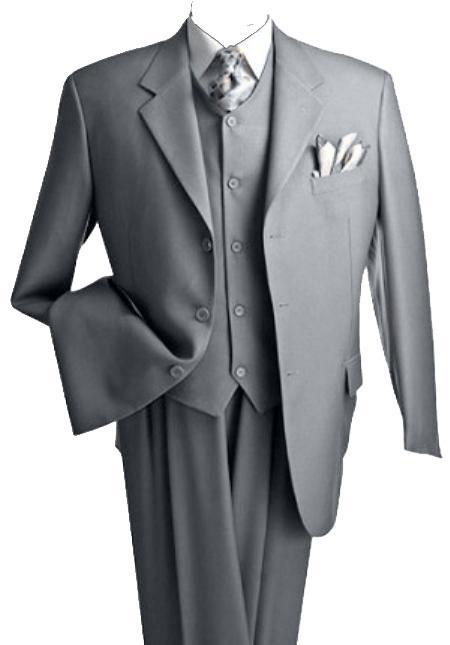Mens 3 Piece Premium Fine Grey Three Piece Suit with 2 Pleat Trousers