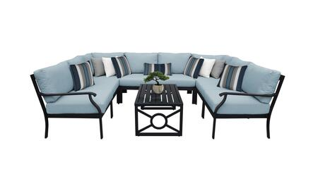 MADISON-09c-SPA Kathy Ireland Homes and Gardens Madison Ave. 9 Piece Aluminum Patio Set 09c with 1 Set of Snow and 1 Set of Tranquil
