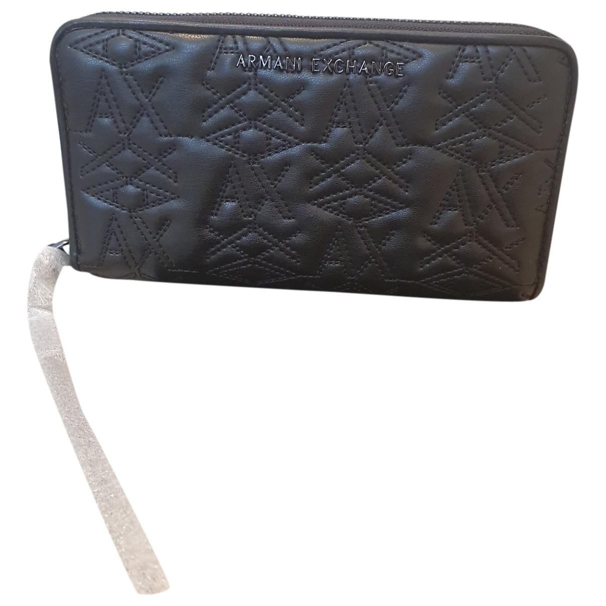Emporio Armani \N Portemonnaie in  Schwarz Leder