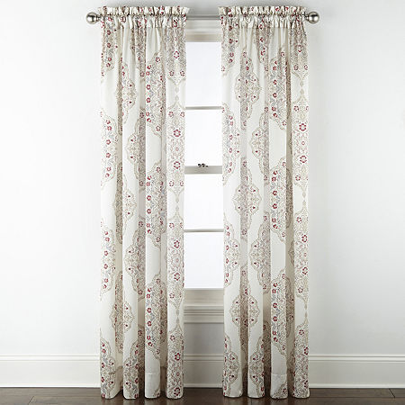 JCPenney Home Hilton Medallion Light-Filtering Rod-Pocket Single Curtain Panel, One Size , Red