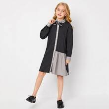 Shirt Kleid mit Schleife vorn, Farbblock und Streifen