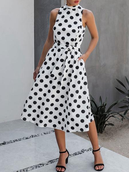 Milanoo Summer Dress Black Jewel Neck Polka Dot Sleeveless Polyester Beach Dress