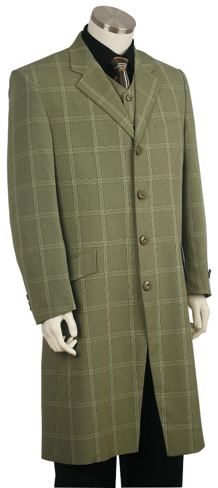 4 Button Fashion Green Zoot Suit Mens