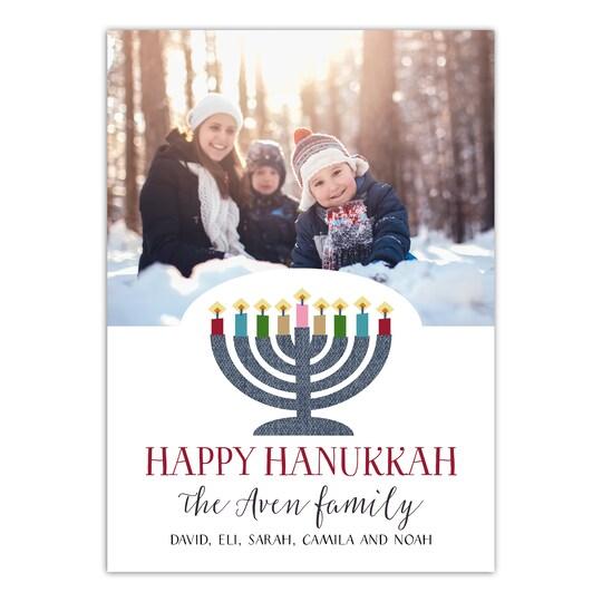 20 Pack of Gartner Studios® Personalized Votive Stripes Hanukkah Photo Card in White | 5