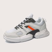 Men Color Block Mesh Panel Sneakers
