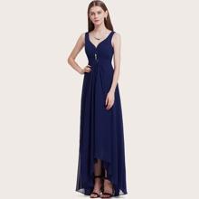 Rhinestone Ruched Detail High Low Hem Prom Dress