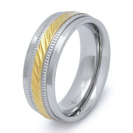 Mens 8mm Wedding Band in Stainless Steel, 9 1/2 , White