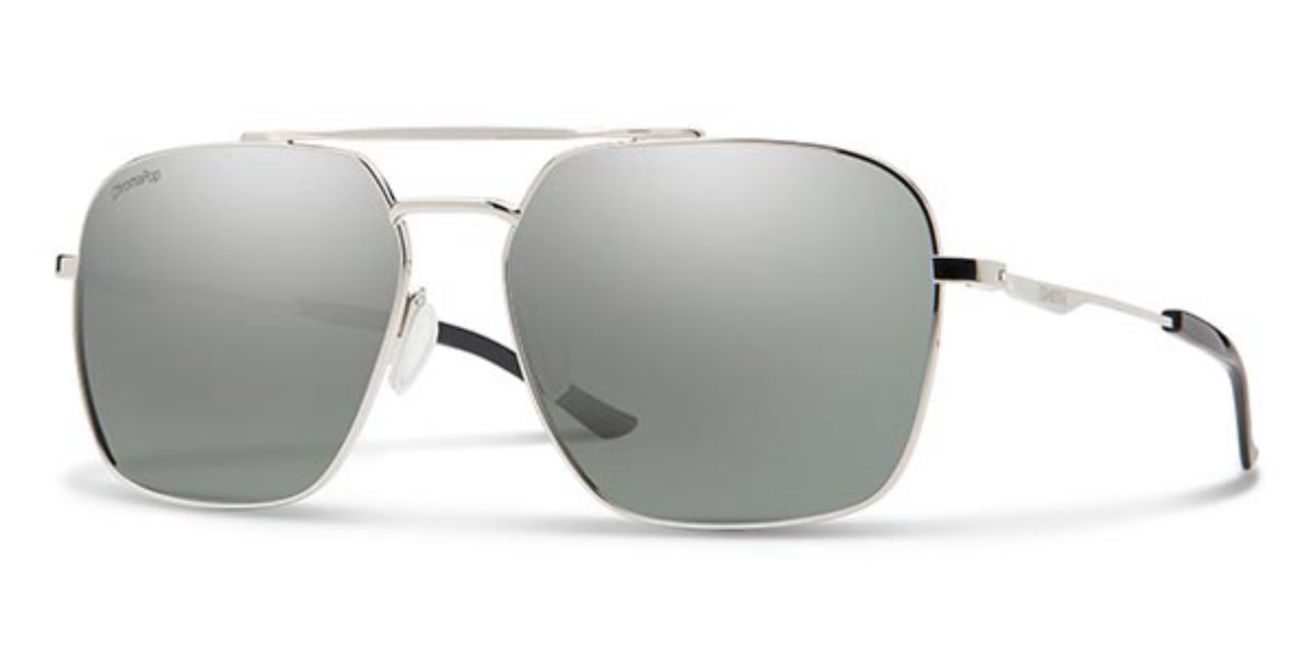 Smith DOUBLE DOWN Polarized 010/OP Mens Sunglasses Silver Size 58