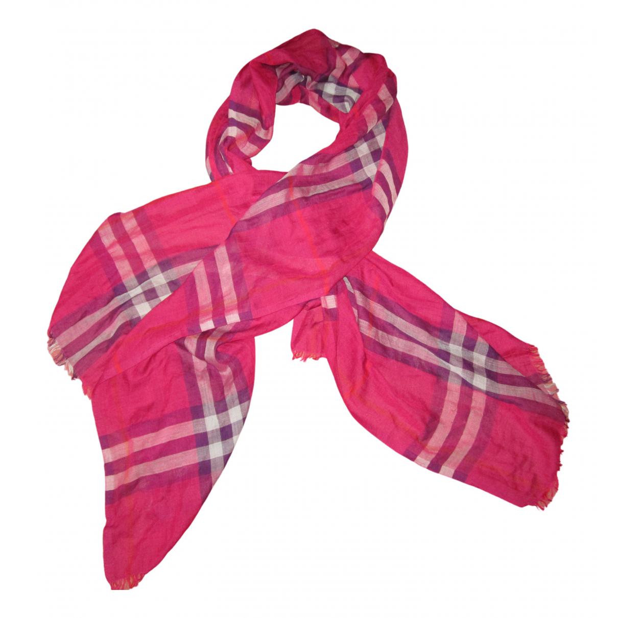 Burberry - Foulard   pour femme en soie - rose