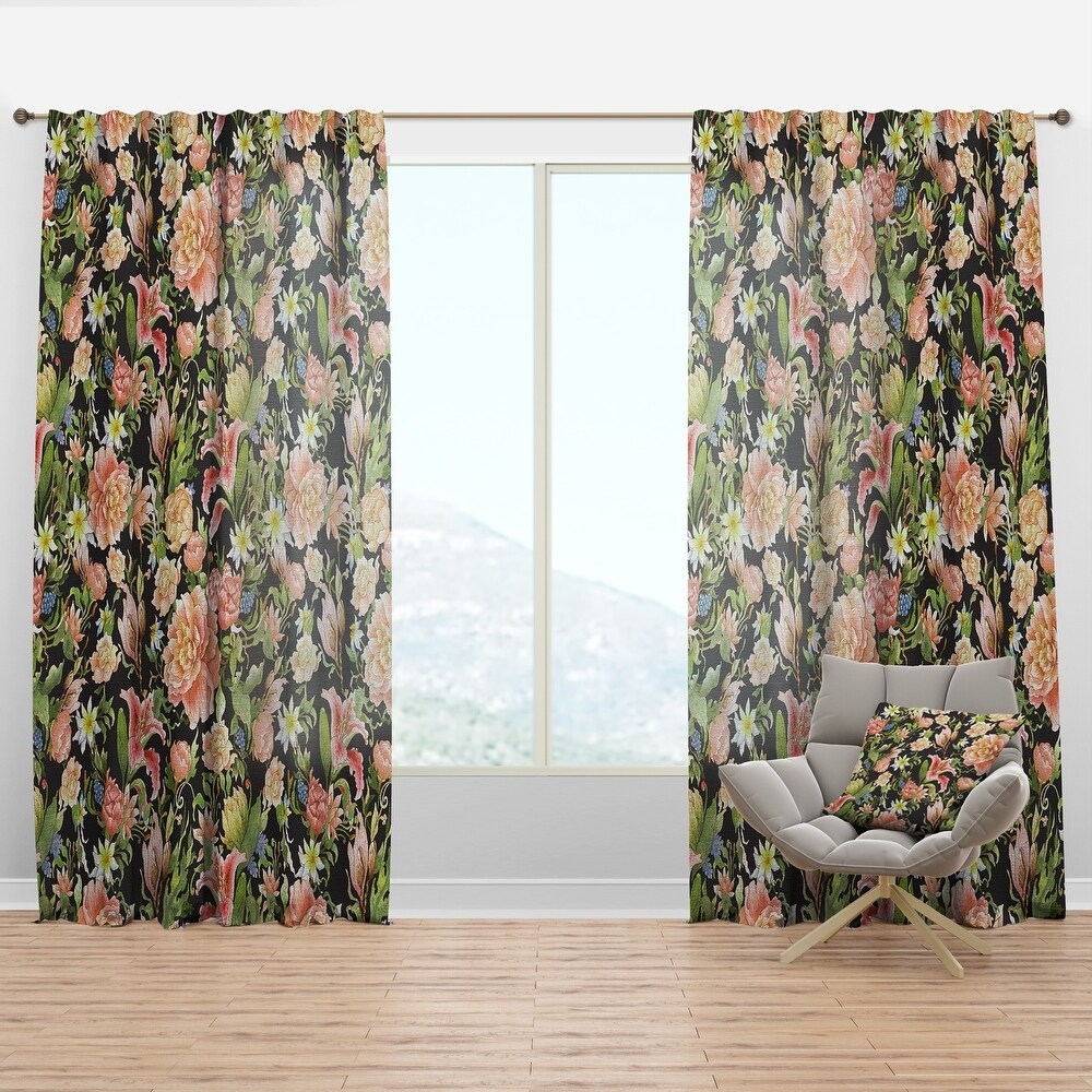 Designart 'Pink Watercolored Blossoming Flowers' Floral Curtain Panel (50 in. wide x 95 in. high - 1 Panel)