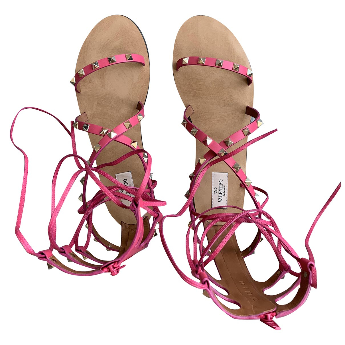 Valentino Garavani Rockstud Pink Leather Sandals for Women 40 EU