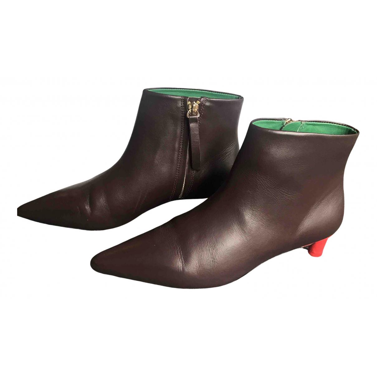 Zimmermann - Boots   pour femme en cuir - bordeaux