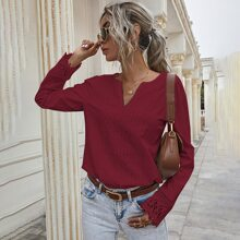 Notched Lace Panel Solid Blouse