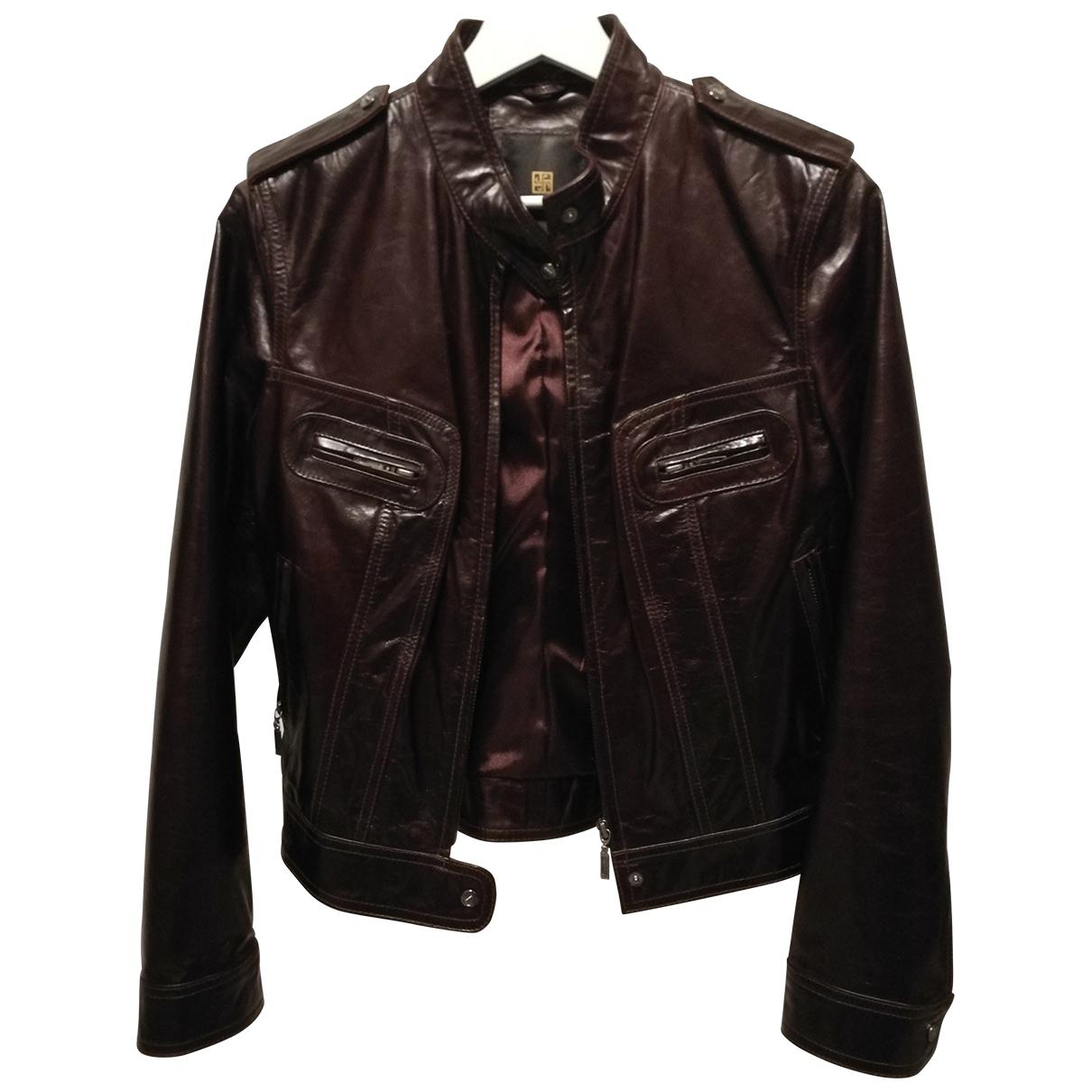 - Veste   pour femme en cuir - bordeaux
