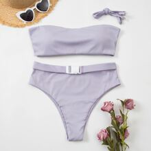 Rib Buckle Bandeau High Waisted Bikini Swimsuit