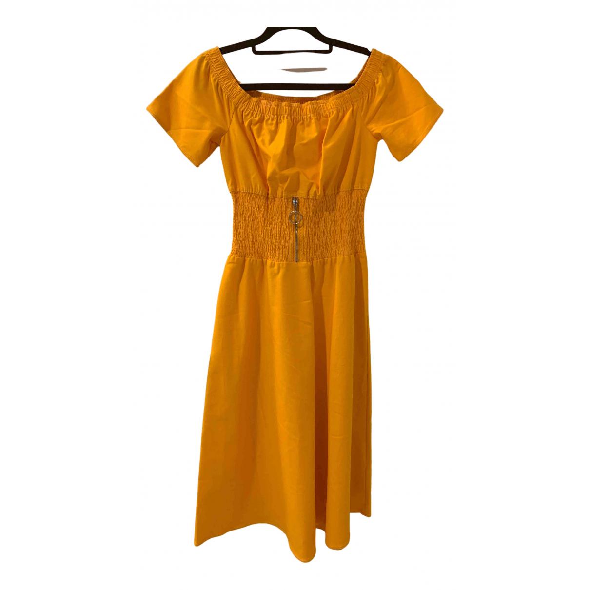 Maje \N Kleid in  Gelb Baumwolle - Elasthan