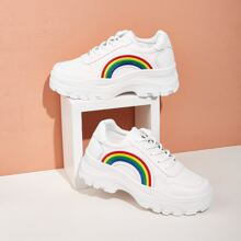 Rainbow Embroidered Chunky Sneakers
