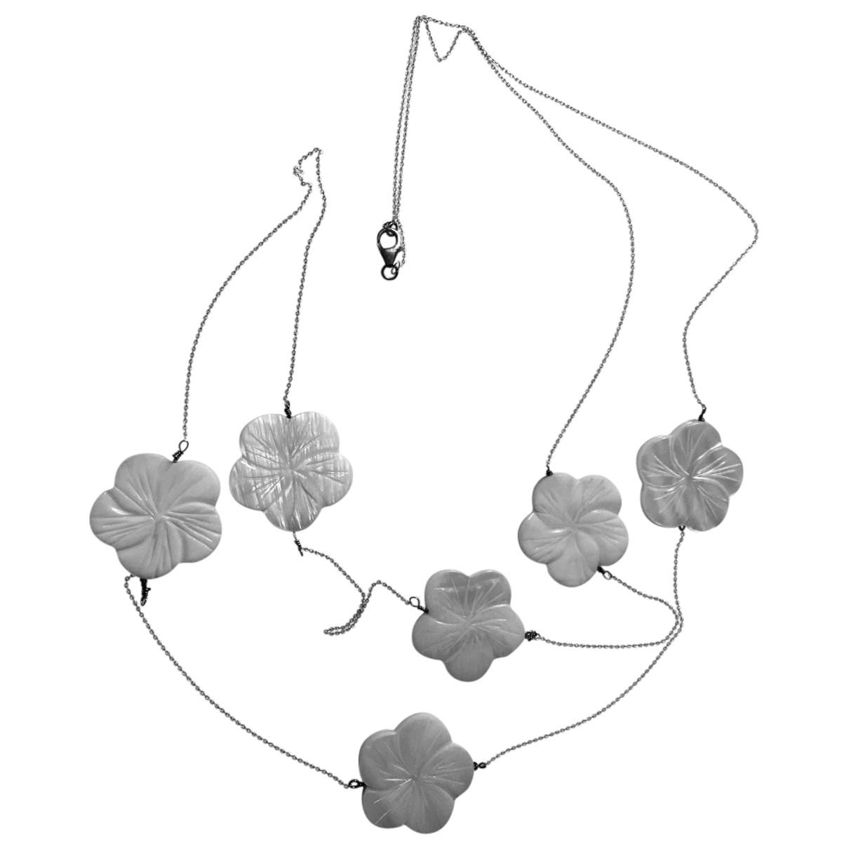 Non Signé / Unsigned Motifs Floraux White Silver Long necklace for Women \N