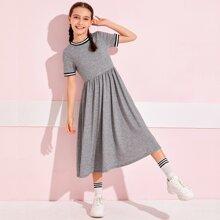Girls Striped Tape Detail Flare Dress