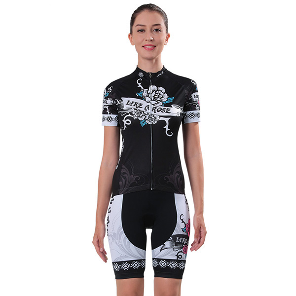 Female Grid Breathable Jersey with Zipper Sponged Short Sleeve Cycling Suit
