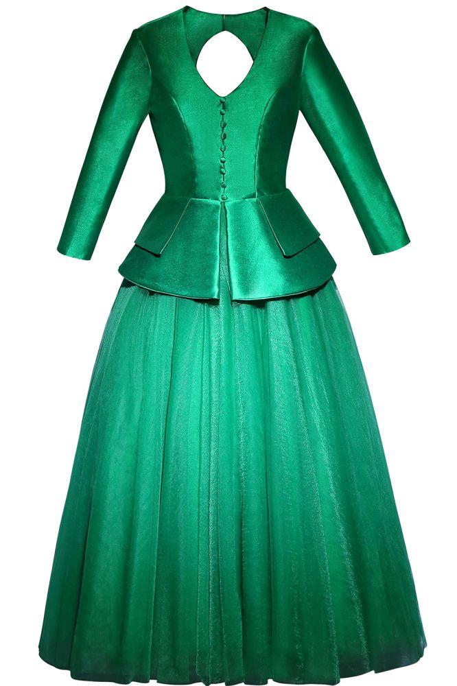 ANGELICA | Vestido largo de noche verde A-line