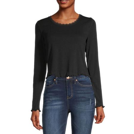 Arizona Juniors-Womens Round Neck Long Sleeve T-Shirt, Small , Black