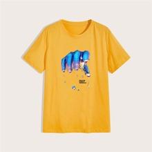T-Shirt mit Hand und Buchstaben Muster