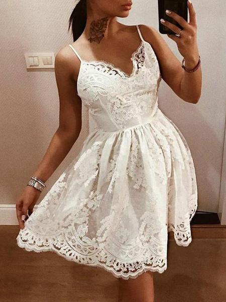 Milanoo White Lace Dresses V Neck Sleeveless Backless Flared Dresses