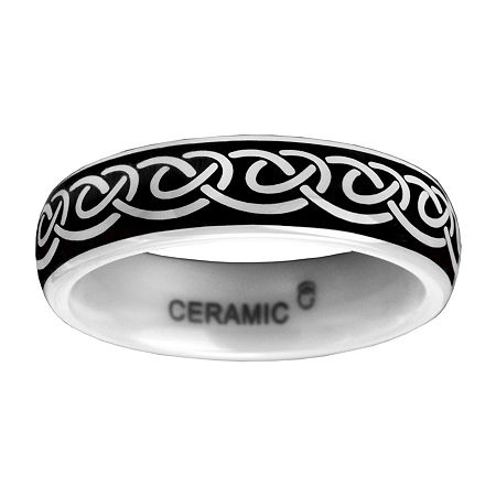 6mm Black and White Ceramic Ring, 10 1/2 , No Color Family