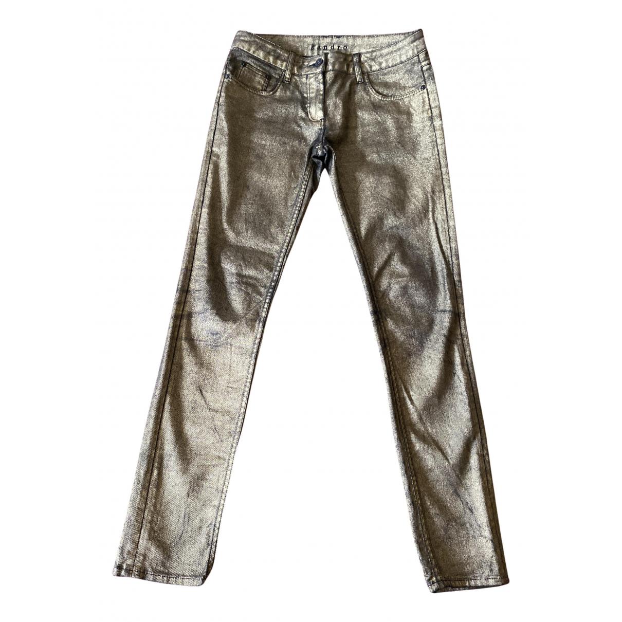 Sandro N Gold Cotton - elasthane Jeans for Women 38 FR