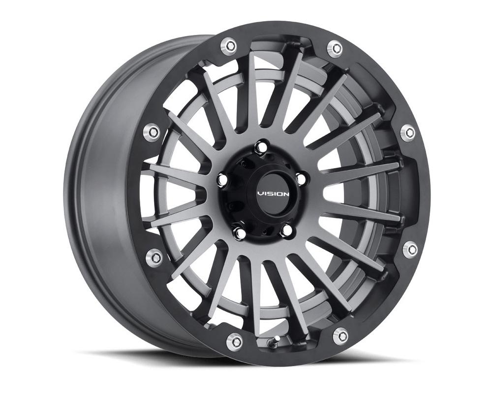 Vision Creep Satin Grey w/Satin Black Ring Wheel 20x10 5x139.7 -25