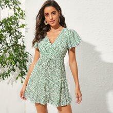 V-neck Ditsy Floral Drawstring A-line Dress