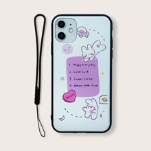 Rabbit Print iPhone Case With Lanyard