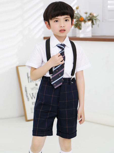 Milanoo Ring Bearer Suits Cotton Short Sleeves Tie Shirt Shorts Black Formal Party Suits For Kids 3pcs