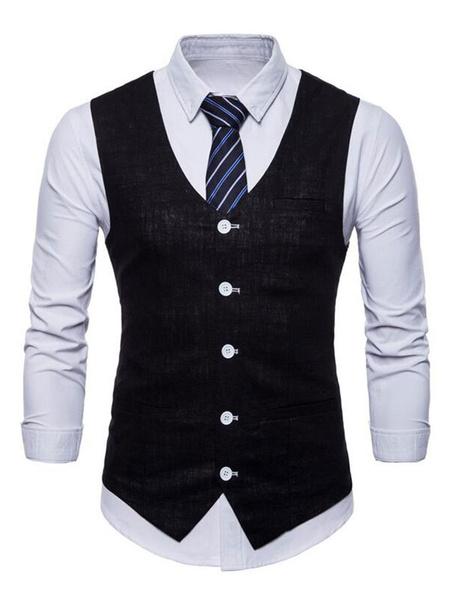 Milanoo Men Suit Vest V Neck Cotton Linen Pocket Regular Fit Casual Waistcoat