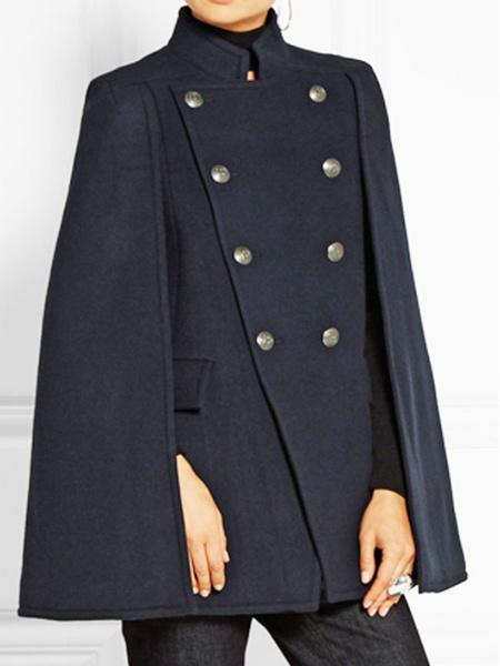 Milanoo Poncho Mujer Cuello Alto Poncho Azul Marino Oscuro Botones Capa Abrigos