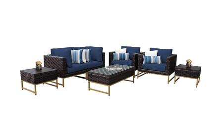 Barcelona BARCELONA-07d-GLD-NAVY 7-Piece Patio Set 07d with 2 Corner Chairs  2 Club Chairs  2 End Tables and 1 Coffee Table - Beige and Navy Covers