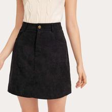 Solid Corduroy Skirt
