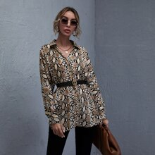 Batwing Sleeve Snakeskin Top Without Belt
