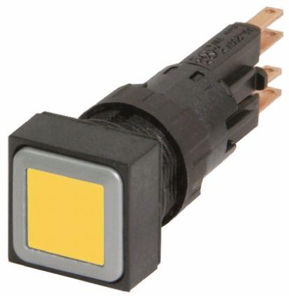 Eaton , RMQ16 Illuminated Yellow Square Push Button, 16mm Momentary Push In