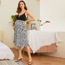 Maternidad falda con fruncido de rayas de cebra