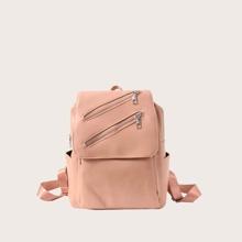 Solid Double Zip Backpack