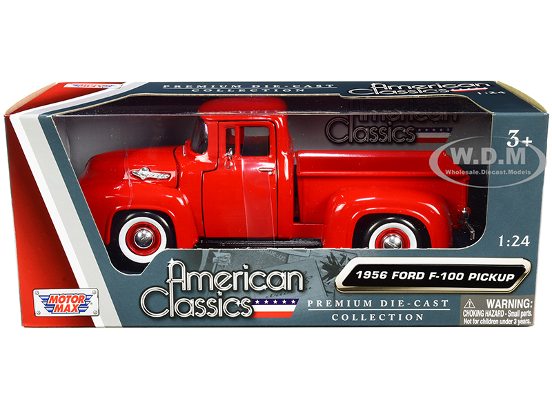 1956 Ford F-100 Pickup Truck Red with Whitewall Tires