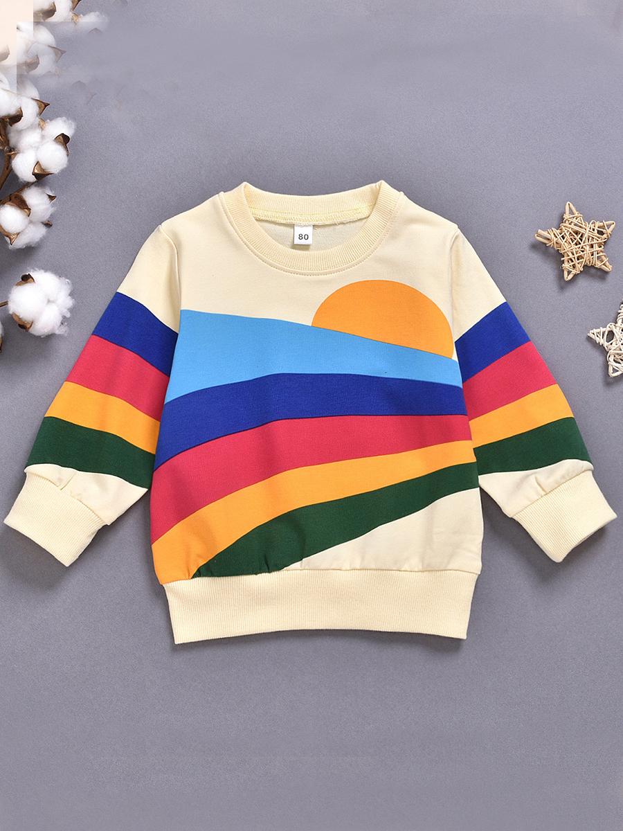 LW lovely Casual O Neck Rainbow Striped Beige Boy Hoodie