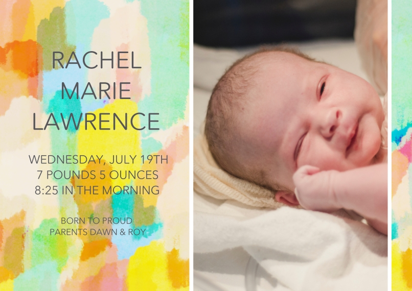 Baby Announcements 5x7 Cards, Premium Cardstock 120lb with Elegant Corners, Card & Stationery -Paint Stroke Sunrise