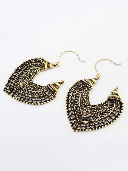 Milanoo Vintage Drop Earrings Bronze Cutout Heart Shape Statement Earrings For Women