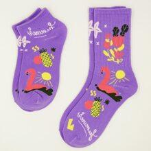 2 pares calcetines con patron de flamenco